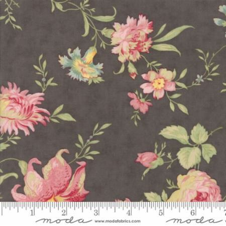 Poetry Prints Coated by 3 Sisters for Moda Fabrics - 44130-12C - Coated Large Blooms in Charcoal Grey Pink - 44Ó- 45Ó Wide