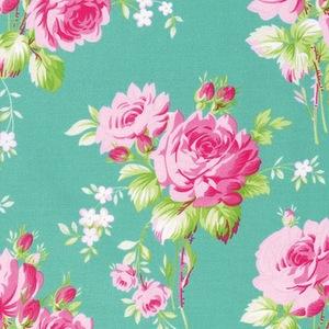 Sadies Dance Card by Tanya Whelan for Free Spirit Fabrics - PWTW122 - Rose Bouquet in Jade