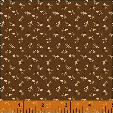 The Golden Age by Nancy Gere for Windham Fabrics - 41236-2 - Floral Bud Brown