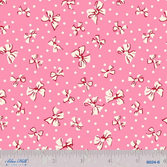 Toy Box 111 by Sara Morgan for Blue Hill Fabrics 8024-6 Bows Pink