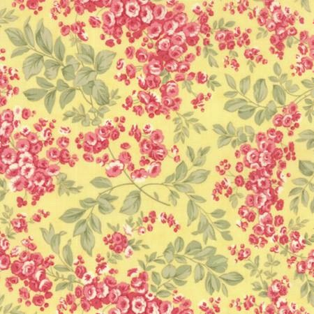 Whitewashed Cottage by 3 Sisters for Moda Fabrics - Floral Faded Roses Yellow 44064-15