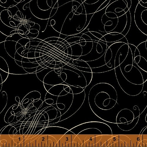 World Maps by Sue Schlabach for Windham Fabrics - Calligraphic Black 40027-1