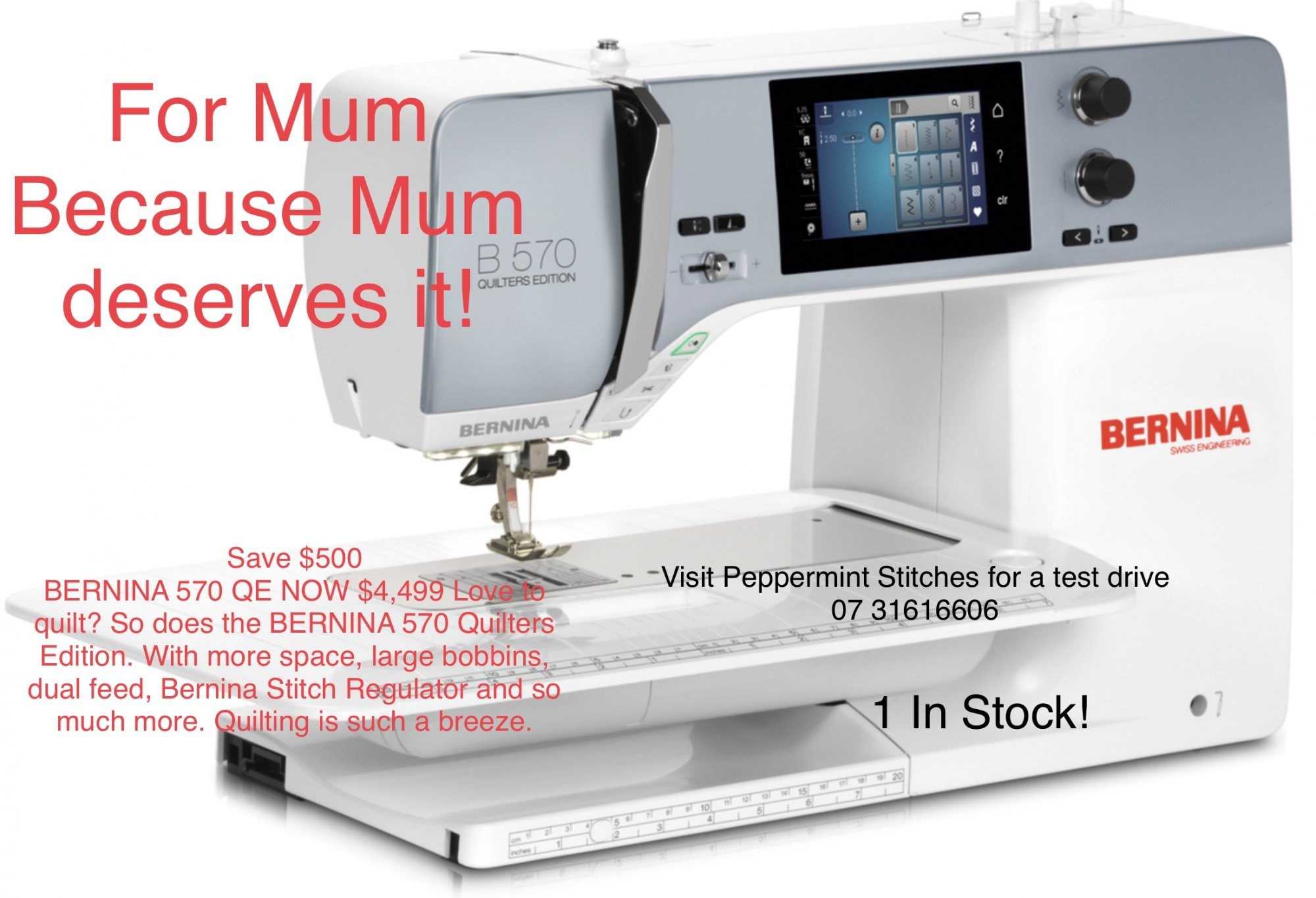 BERNINA 570QE - The versatile one with the wide range of functions. 1 INSTOCK!