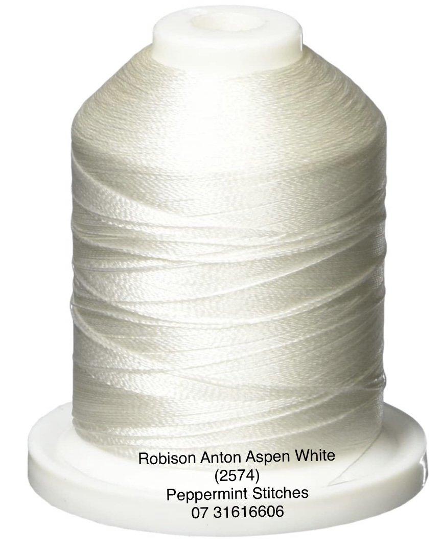 Robison Anton Aspen White (2574) Rayon Machine Embroidery 40wt 1000m