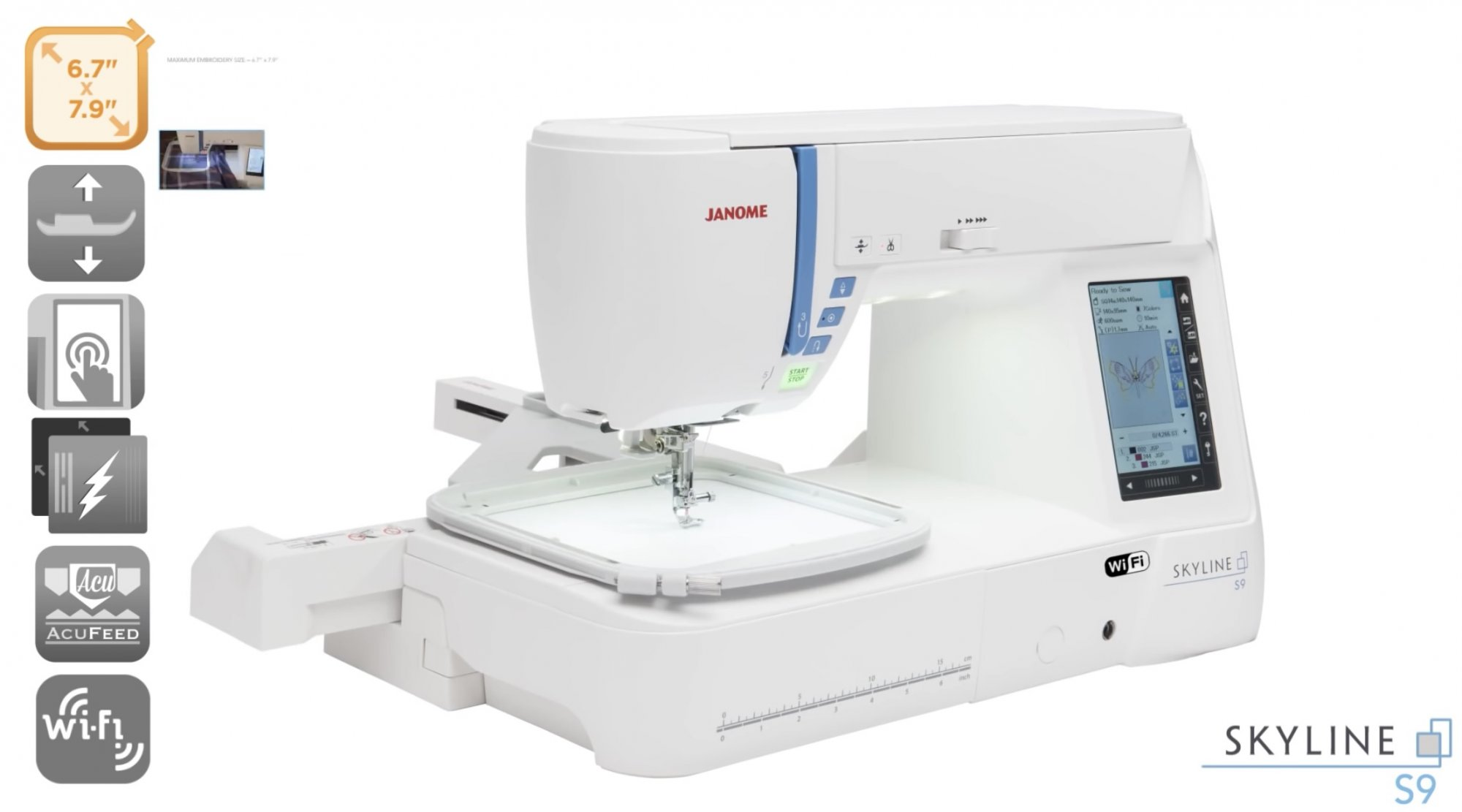 Janome Skyline 9 Embroidery, Sewing and Quilting Machine  8.3(210mm) Embroidery/ Sewing Field, WiFi Connectivity with iPad, Laptop & Pc