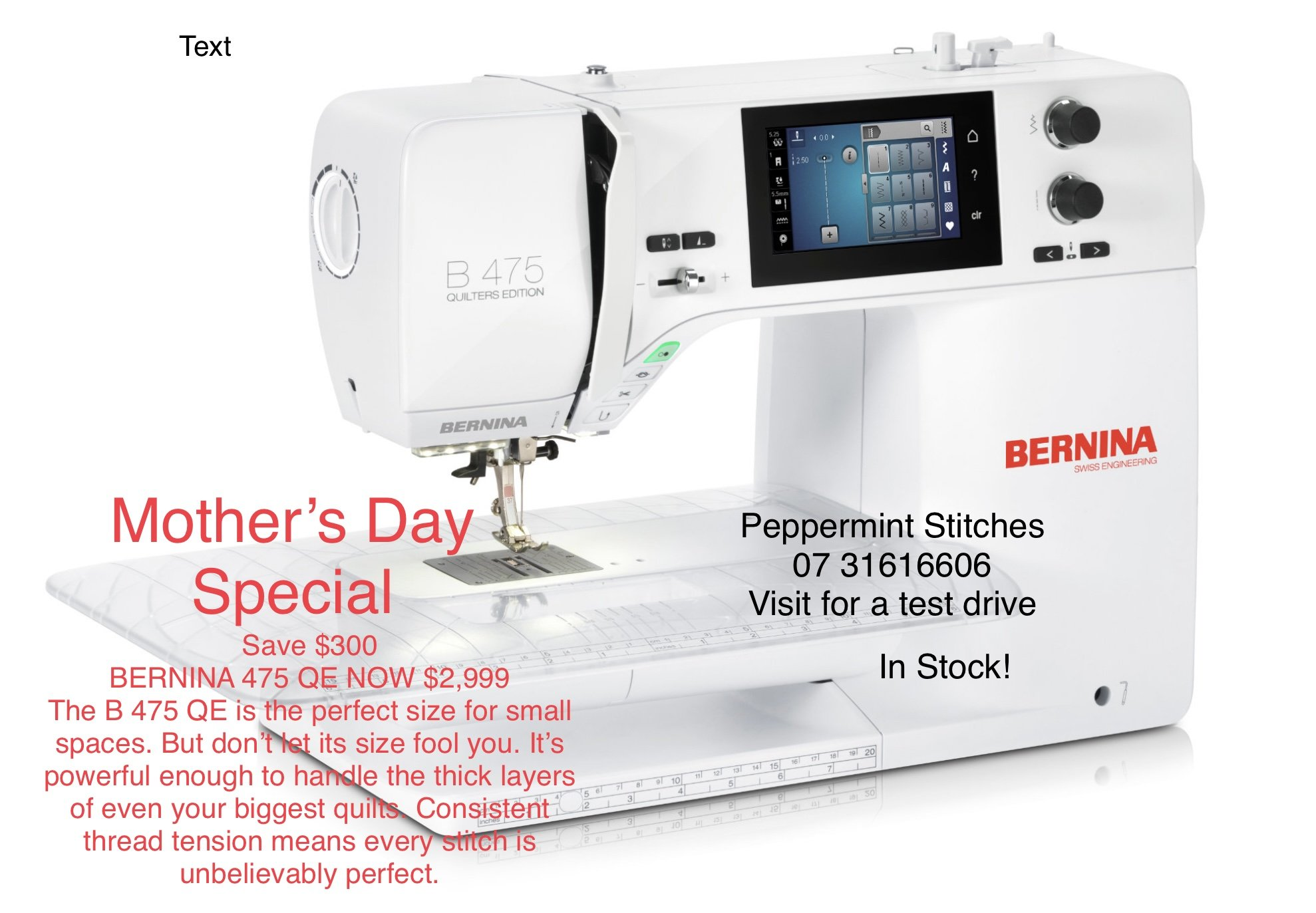 BERNINA 475QE - Highly Sought After, Great Sew Everything/Anything Machine with Powerful Motor, Good for all types of Sewing, Patchwork, Bag Making, Mending,  has many uses. 1 IN STOCk!