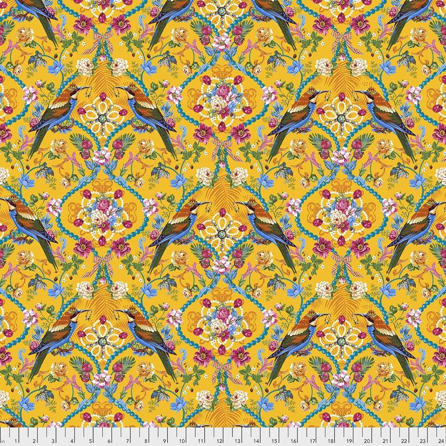 Jardin de la Reine by Odile Baileoul for FreeSpirit Fabrics - The Queens Jewel's Small Gold - PWOB035-GOLD