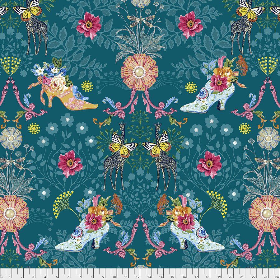 Jardin de la Reine by Odile Baileoul  for FreeSpirit Fabrics - Royal Expedition Teal - PWOB037-TEAL