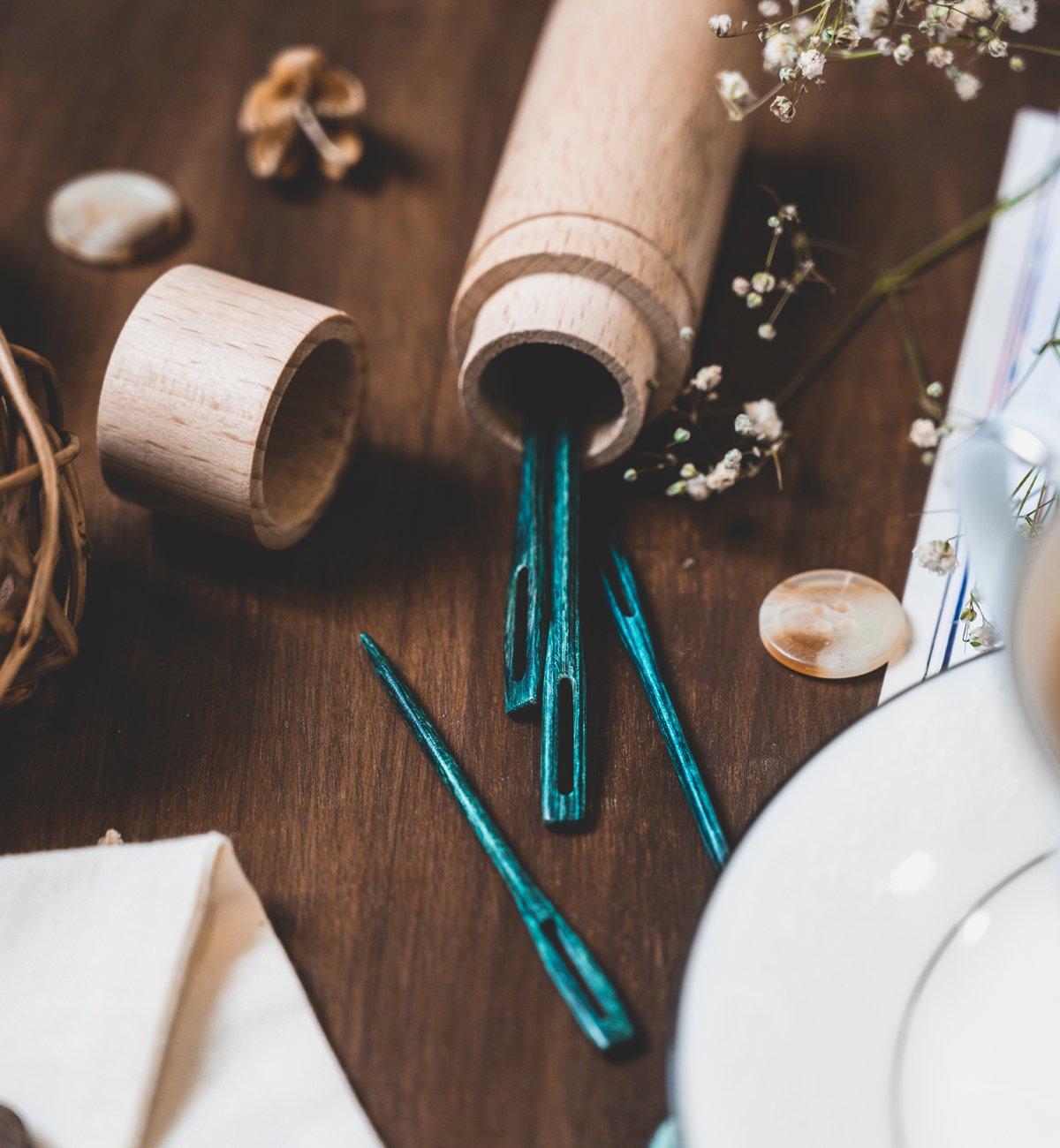 Teal Wooden Darning Needles