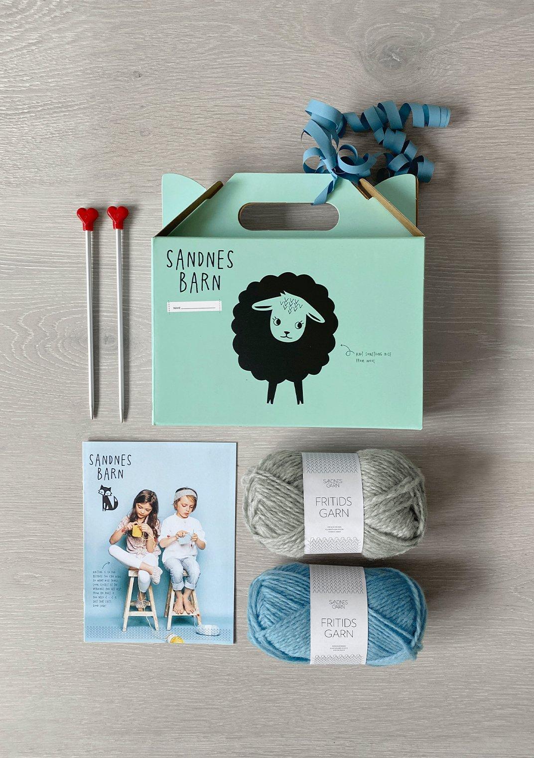 Sandnes Barn Learn to Knit Kit for Kids