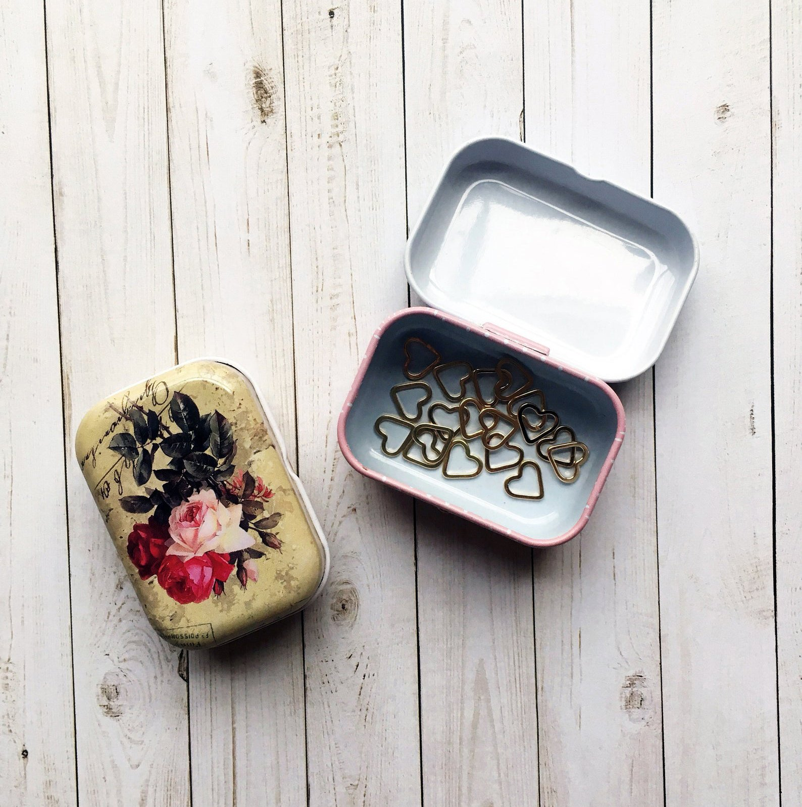 Floral Small Storage Hinged Tin