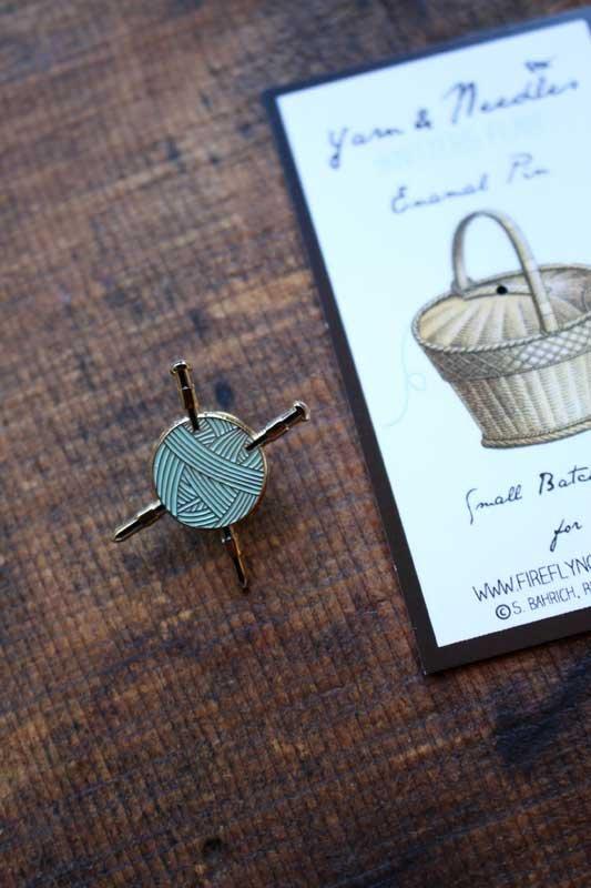 Yarn and Needles Enamel Pins