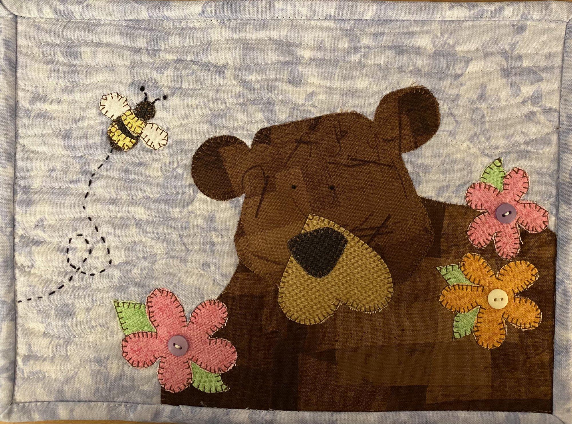 Buster Bear Mug Rug PDF mini quilt pattern