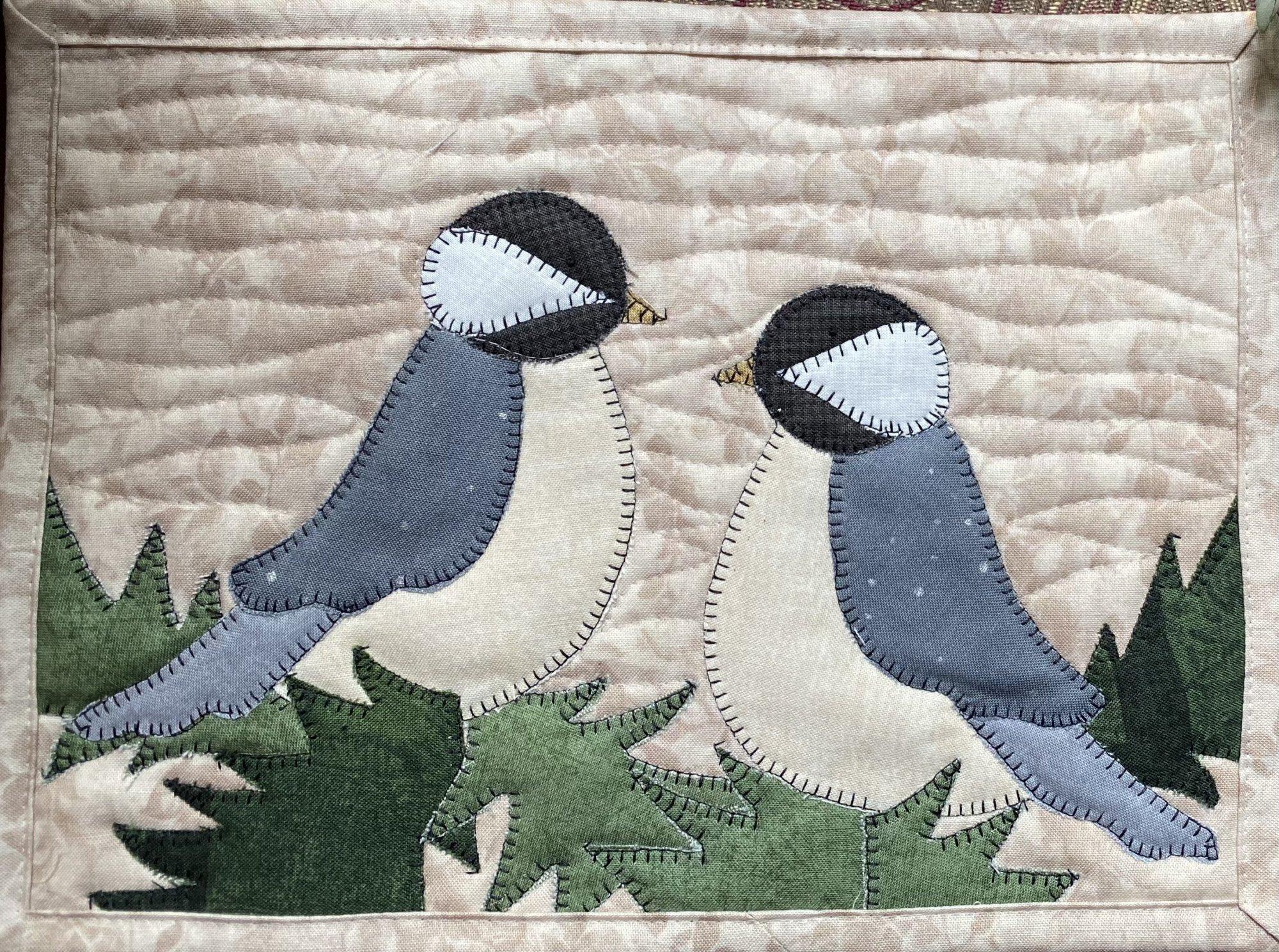 Chickadee Pair Mug Rug PDF mini quilt pattern