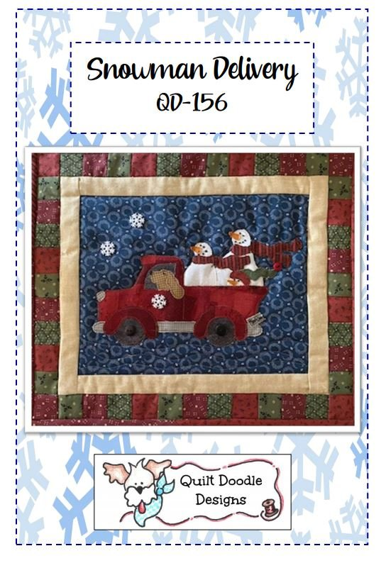 Snowman Delivery mini quilt, wall hanging Packaged pattern - copy
