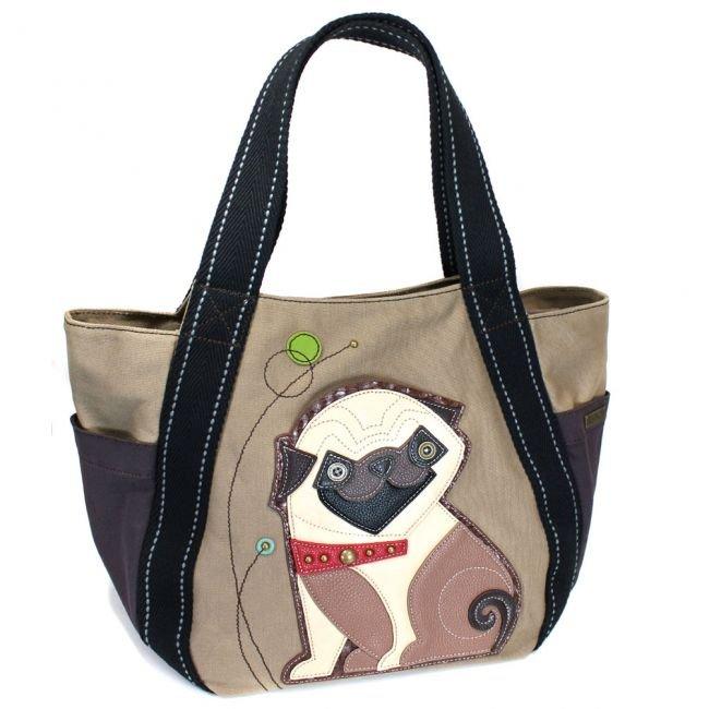 Chala Carryall Zip Tote Pug Olive Brown