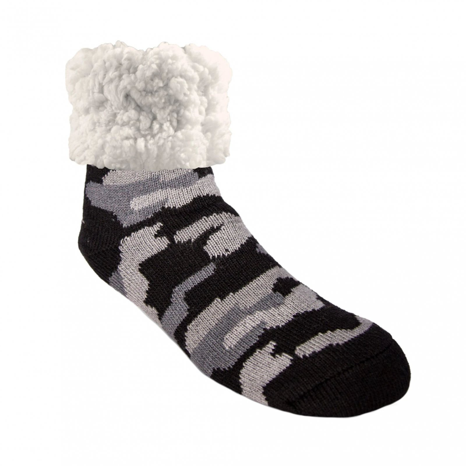 Pudus Classic Slipper Socks | Camo Grey (One Size)