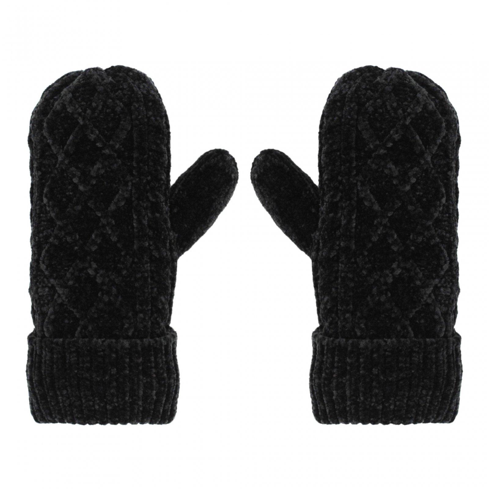 Chenille Knit Mittens | Black