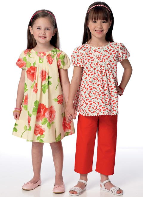 Children's/Girls' Tucked Top, Dress and Pants - B6307