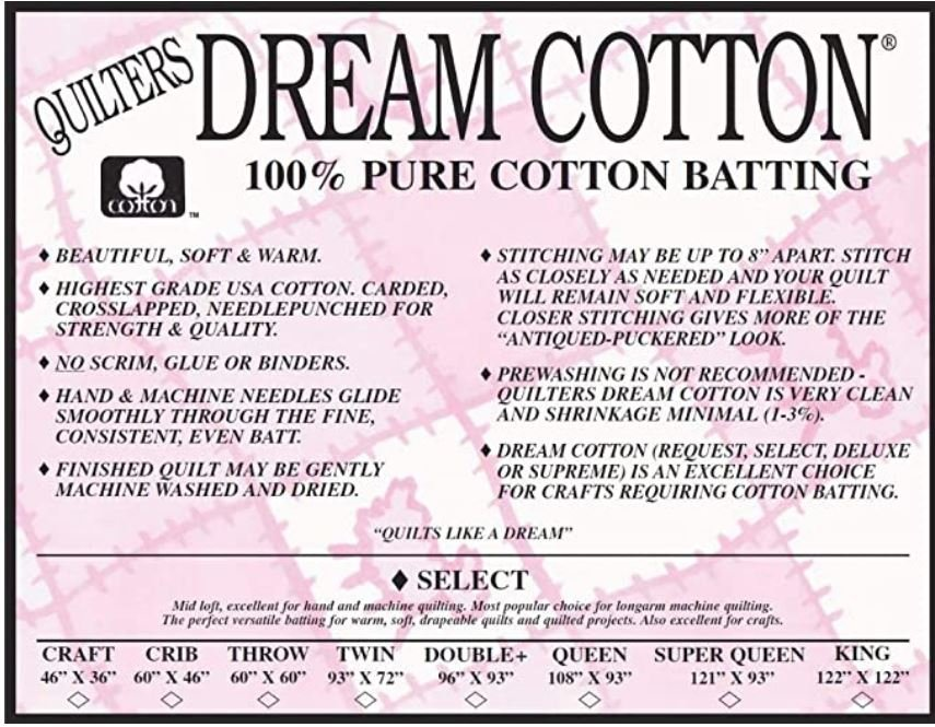 Quilters Dream Cotton Batting - 46x36 (Craft Size) Natural