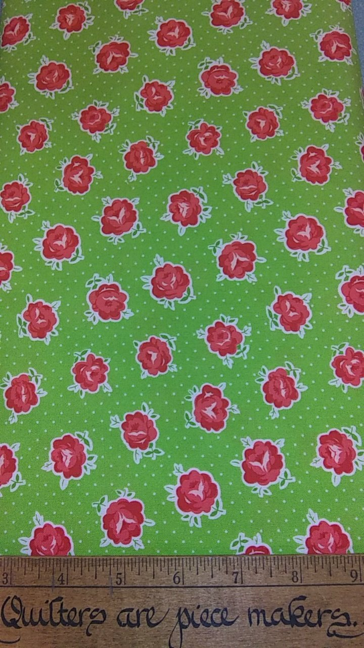 Smitten - Red Roses on Green