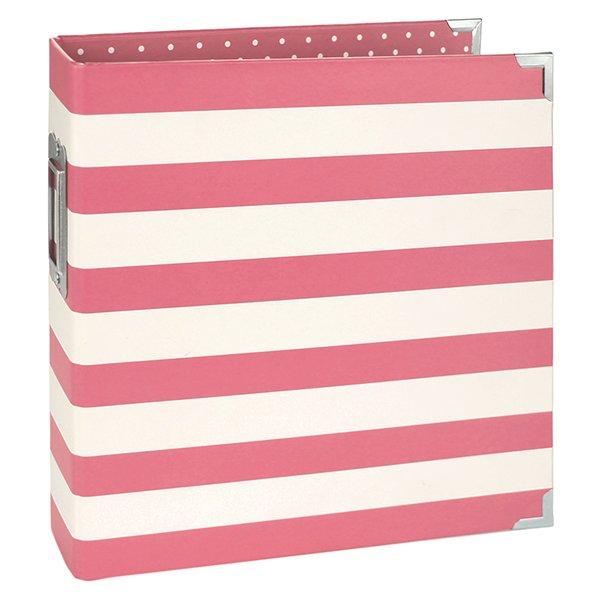 6x8 Binder-Pink Stripe