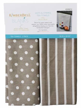 KDKB214 Dots & Stripes Tea Towel Grey