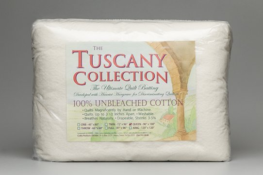 Batting Tuscany Unbleached 100% Cotton Queen 96in x 108in