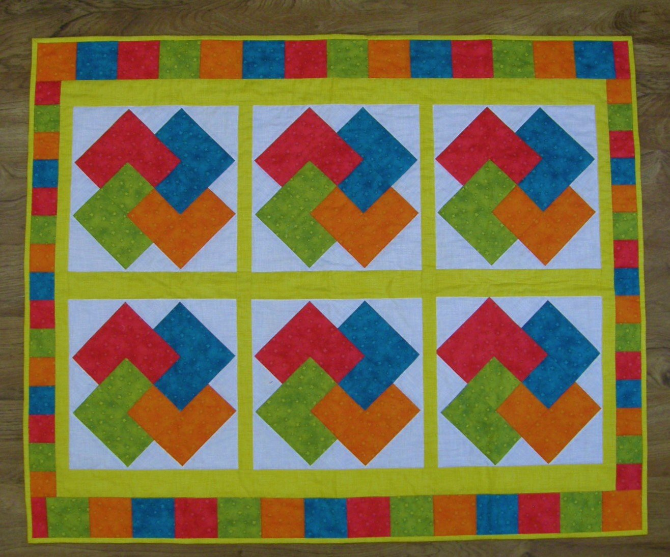 Finished Baby Card Trick Crib Quilt  36 X44