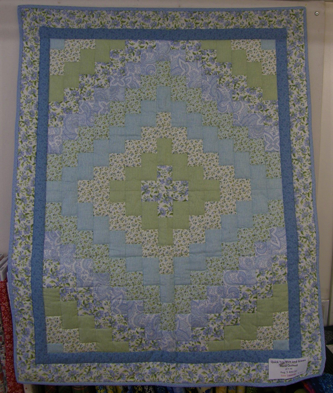 Quick Trip Finished Blue and Green Hand Quilted Baby Quilt