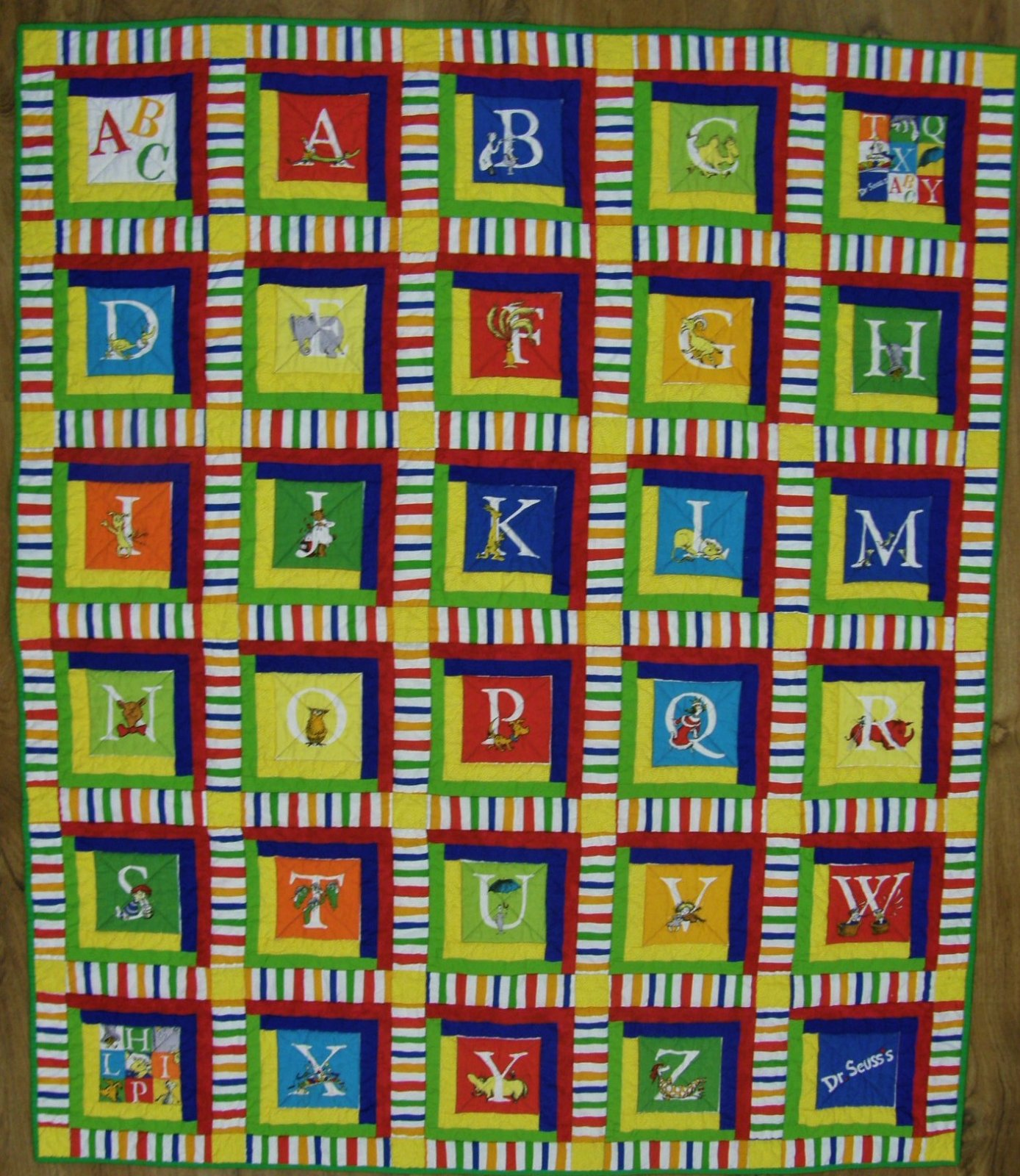 Finished Bright ABC Baby Quilt     51 1/2 X 60