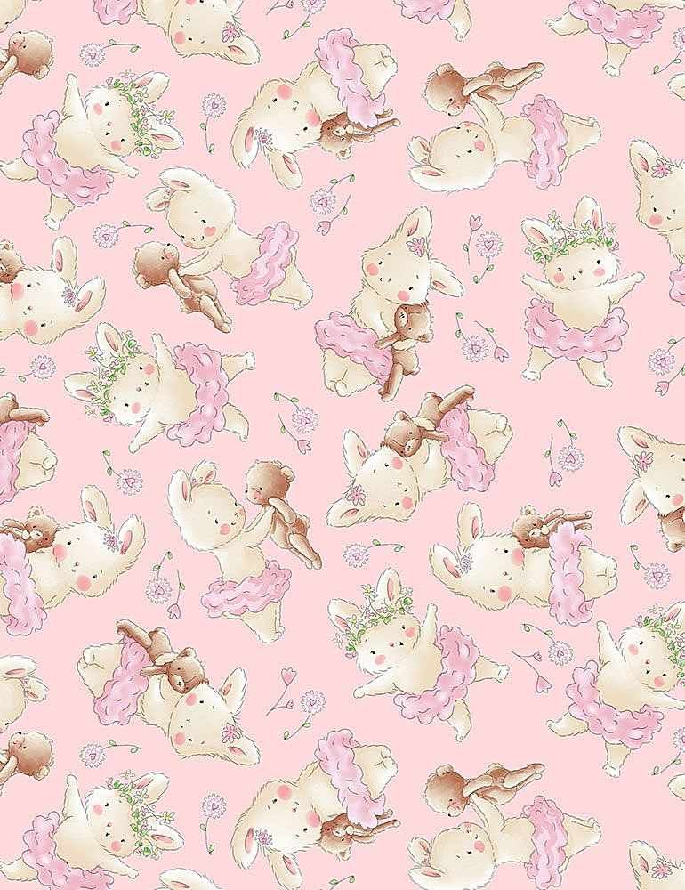 Bunnies Flannel 7245 Pink