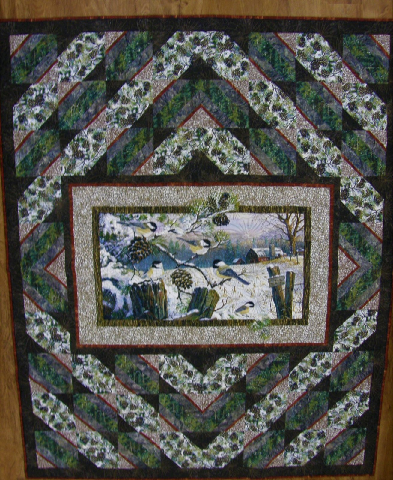 Finished Chickadee Haven Quilt 60 X 76