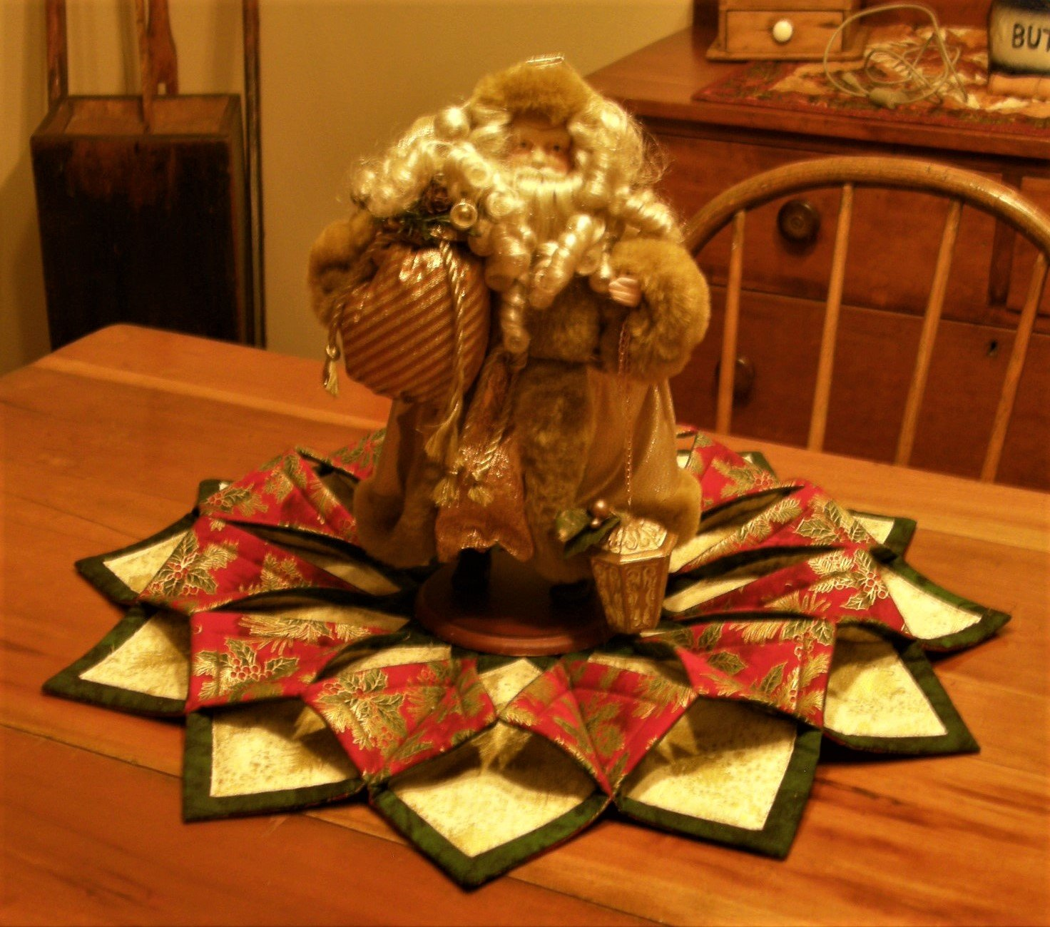 Finished Red Green and Gold Christmas Table Wreath