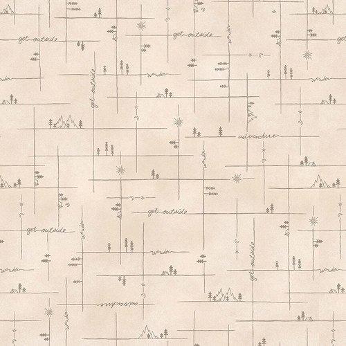 Bolt End Folk Art Flannels 2375 33    1 1/8 yd X wof
