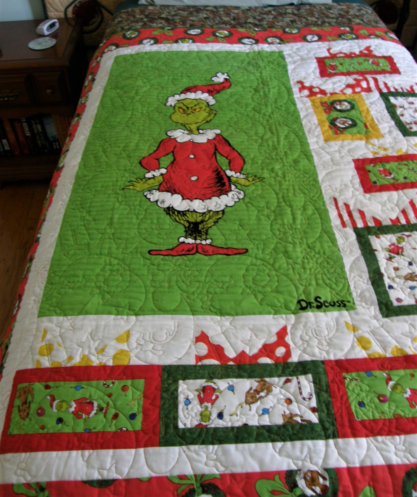 Wrapped with Care Grinch Lap Quilt