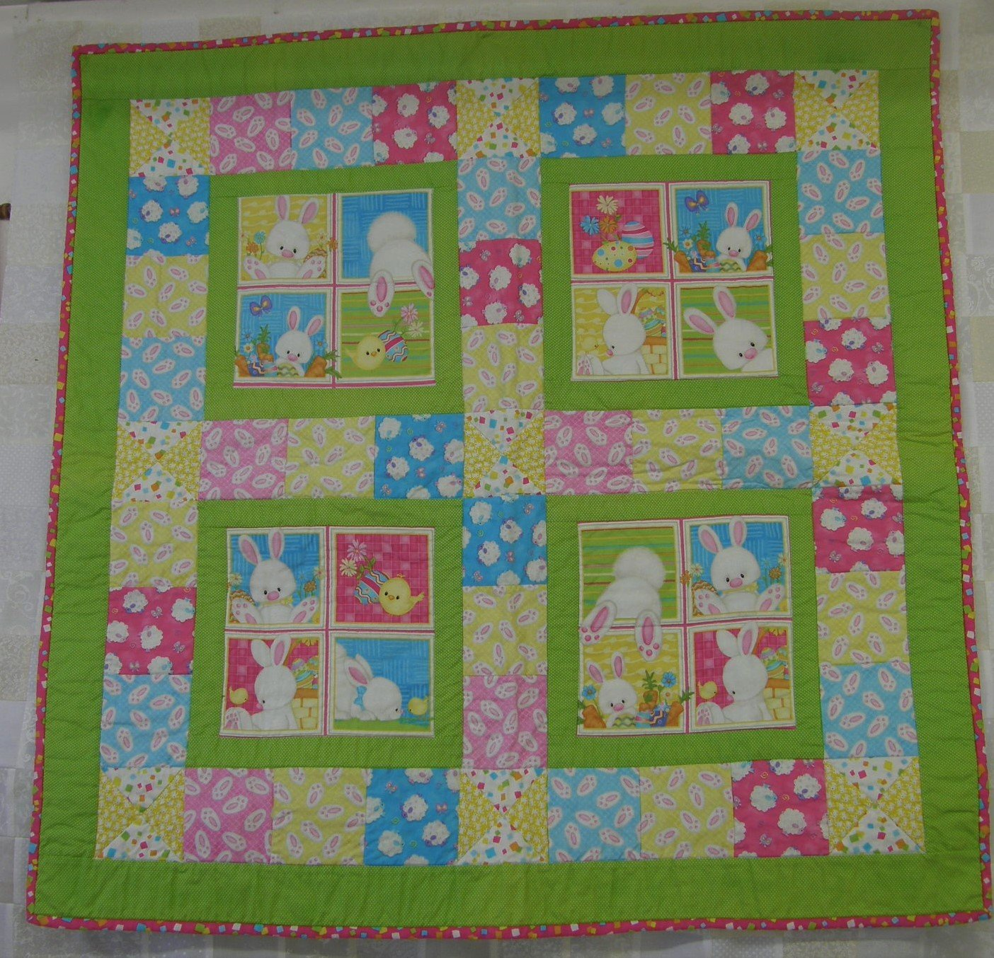 Hop to It Wall Finished Hanging or Small Baby Quilt