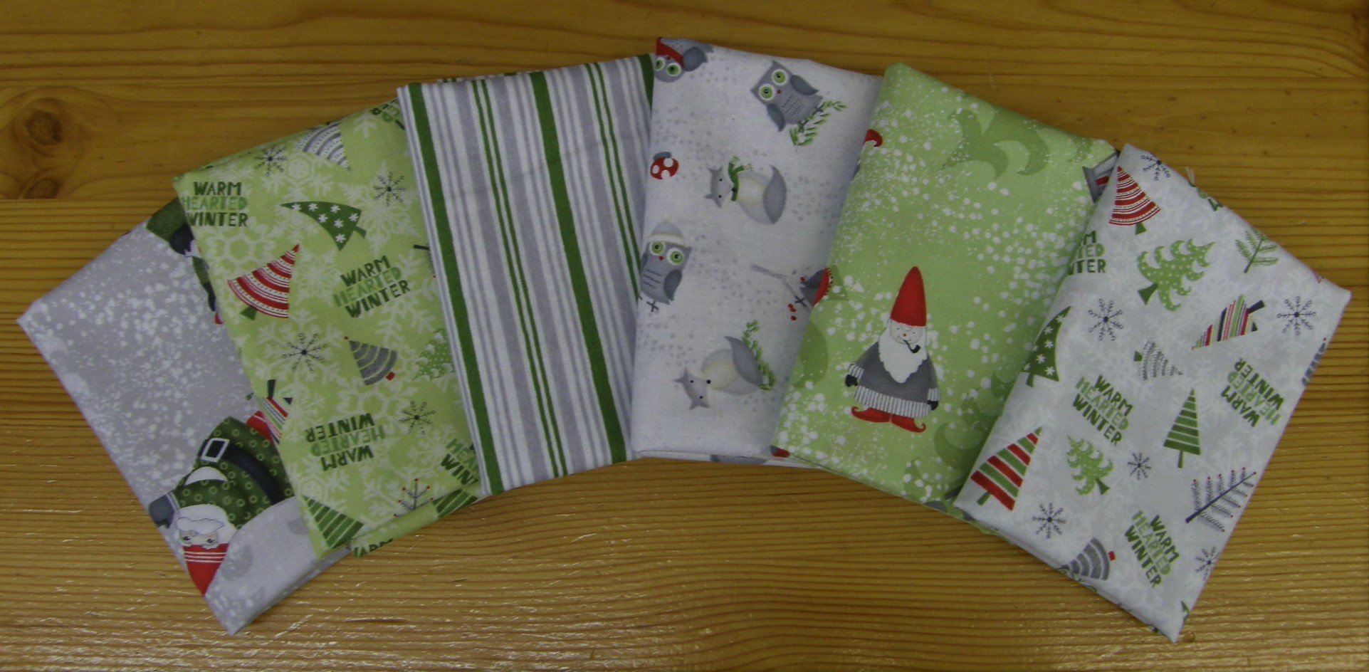 Light Winter Gnomes Fat 1/4 bundle,   6 Fats