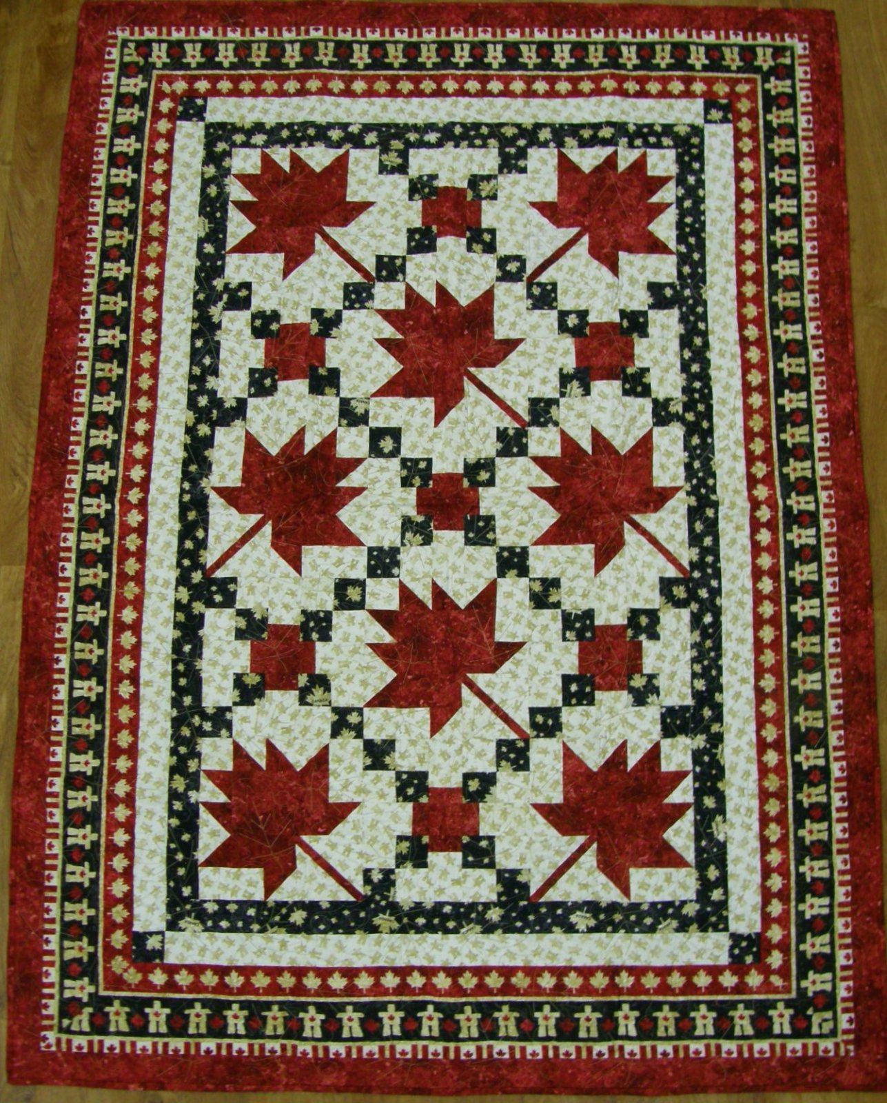 Finished Maple Leaf Parade Lap Quilt    52 X 72
