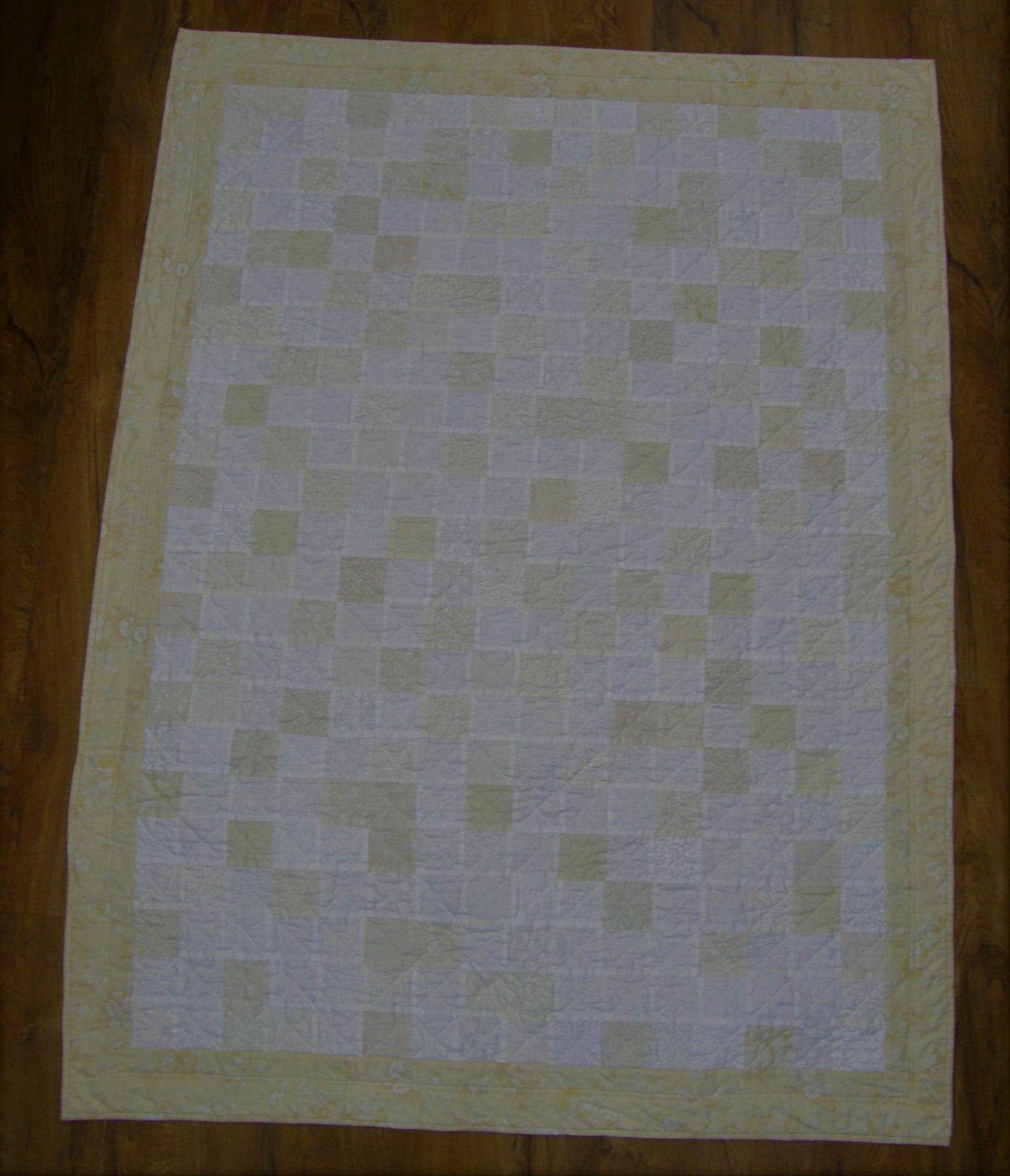 Finished Neutral Squares Lap Quilt 51 X 68