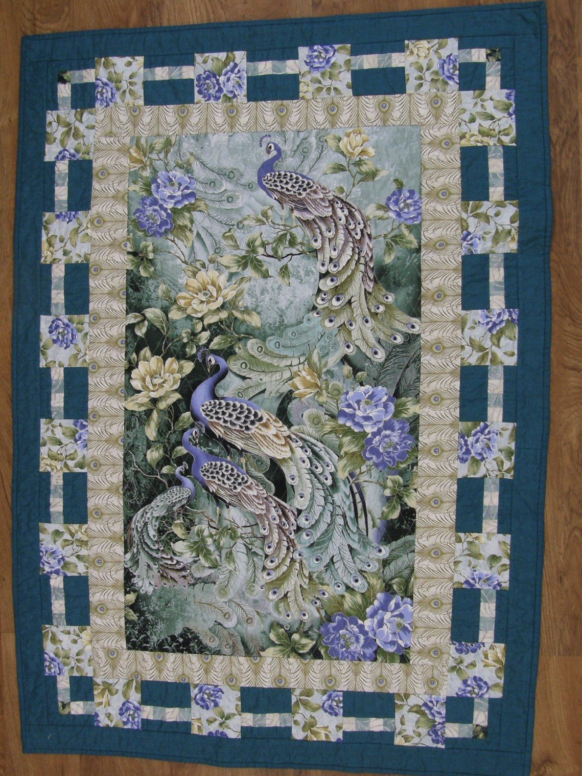 Finished Feathered Peacock Wall Hanging     38  X 52