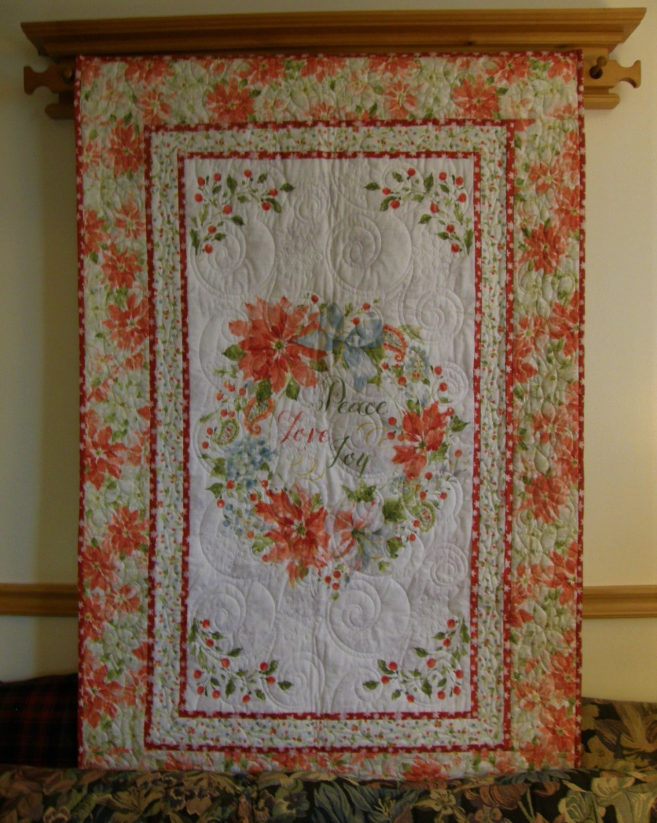 Peace, Love and Joy Finished Wall Hanging