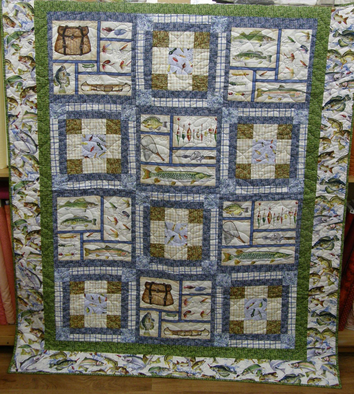 Reel It In Finished Lap quilt