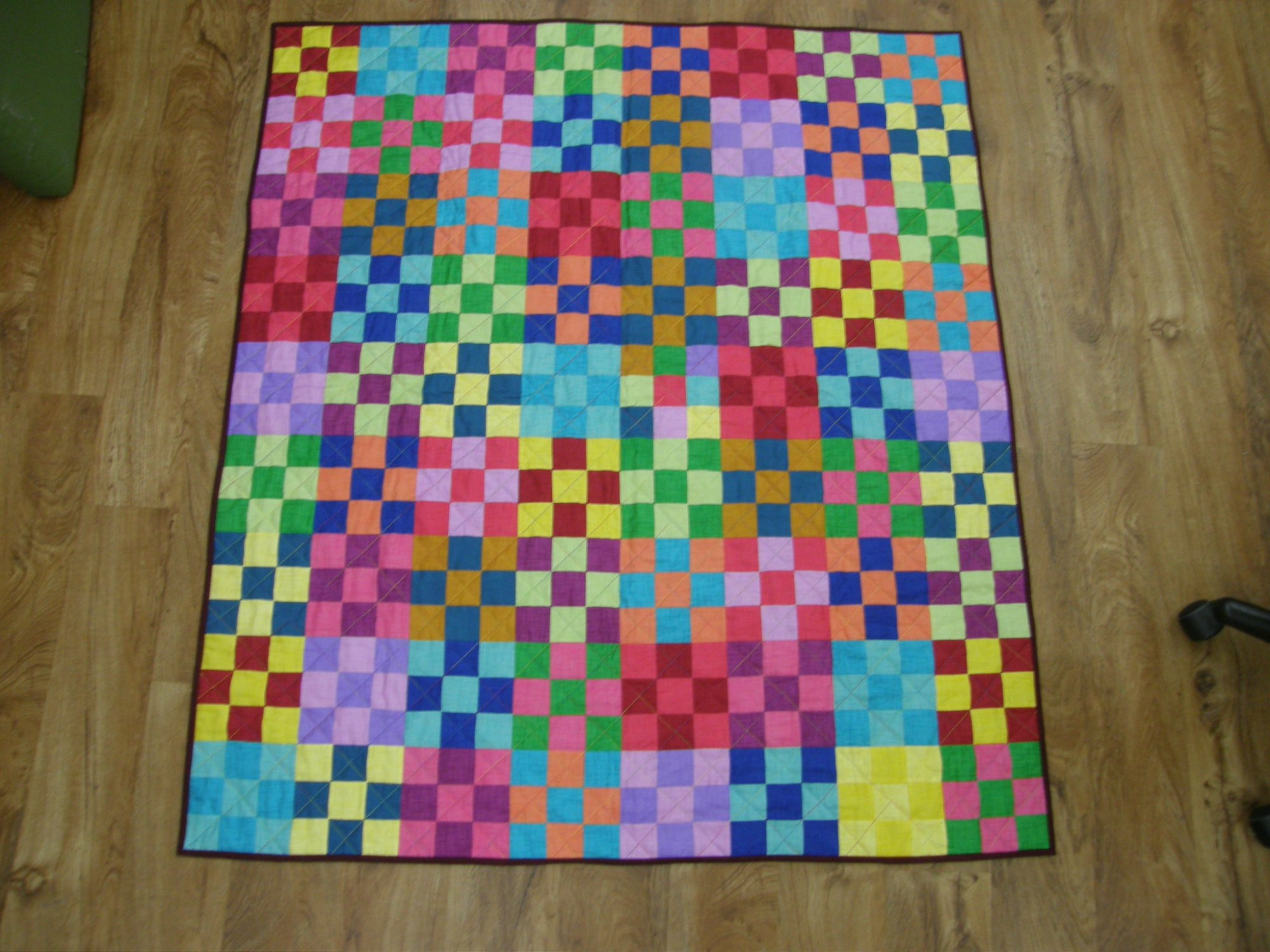 Finished Lap Quilt Scrappy Dublin 9 Patch    48 x 54