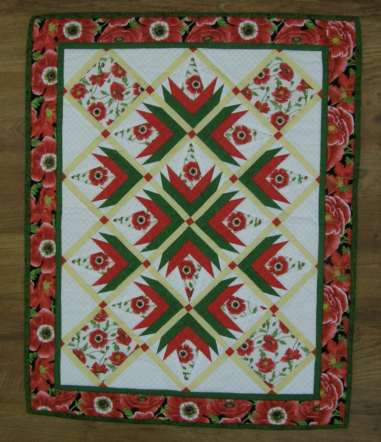 Finished Silver Maples Poppies Table Topper      23.5  X 29.5