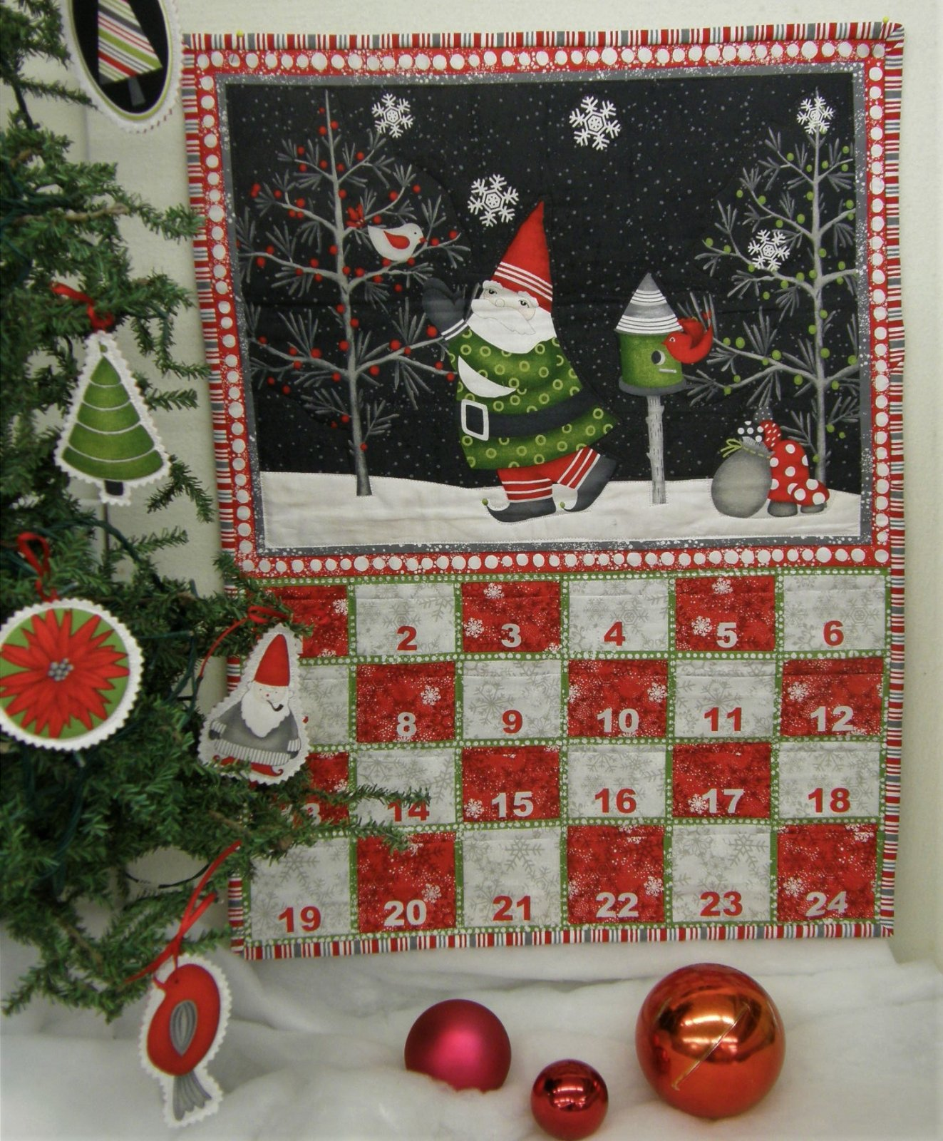 Finished Winter Gnomes  Advent Calendar with ornaments