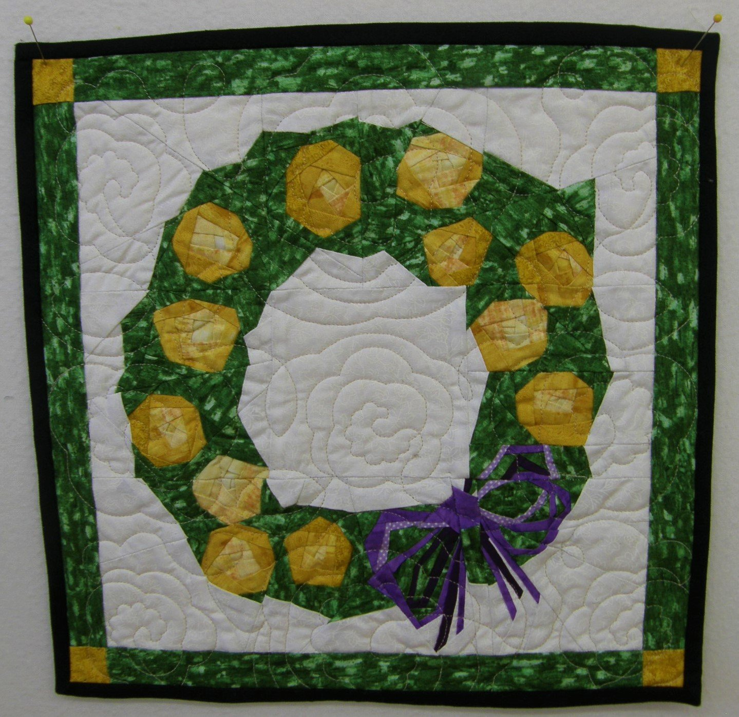 Yellow Rose Wreath Finished Wall hanging