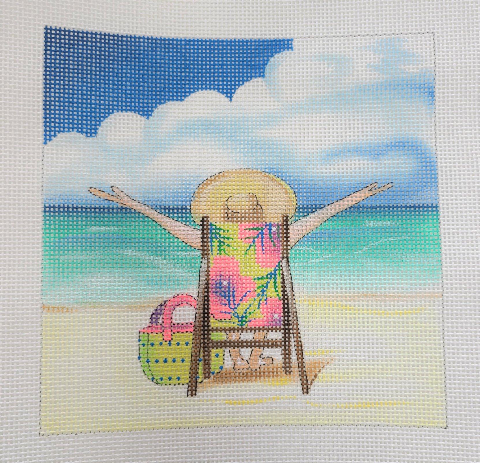 At the beach 7x7 13 mesh needlepoint *HANDPAINTED*