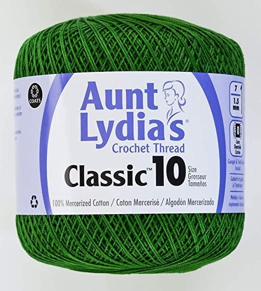 Aunt Lydia Classic 10 Crochet Thread - Myrtle Green