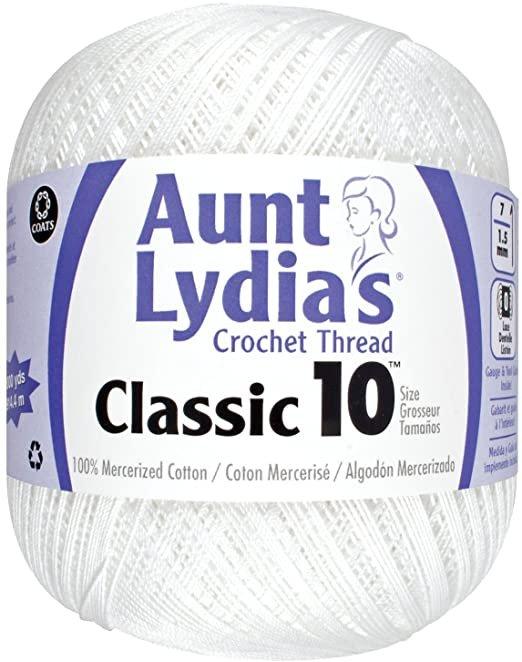 Aunt Lydia Classic 10 Crochet Thread - White